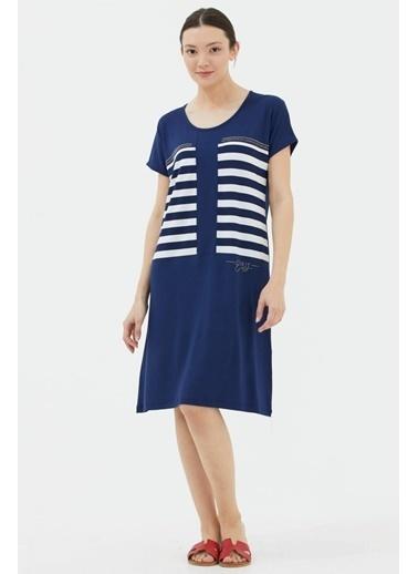 Sementa Rahat Kalıp Yarasa Kol Elbise - Lacivert Lacivert